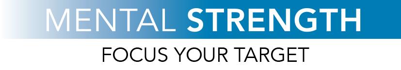"""Logo Mental strength. Mental Strength in weiß geschrieben vor blau verlaufenden Hintergrund. Darunter der Claim """"Focus your Target"""""""