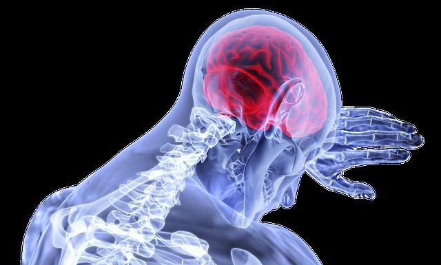 Ein Mensch dargestellt wie geröntgt, nur der Schulter und Kopfbereich sichtbar, die Hand an einer Wand, der Kopf darauf gelehnt. Das Rückgrat ist sichtbar und auch das in rot gehaltene Gehirn